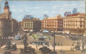 Spain Madrid - Puerta del Sol, auto, cars, trolley bus 1954
