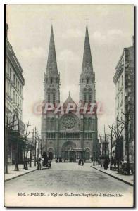 Paris Carte Postale Ancienne Eglise Saint Jean Baptiste de Belleville