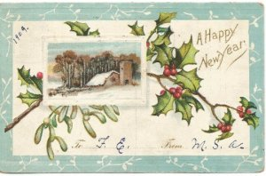 Winter Scene Farm off Lake Countryside Happy New Year Greeting Holly Branches