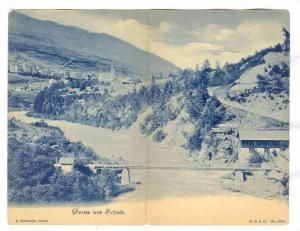Gruss aus SCHULS (now Scuol) , Switzerland, 1890s Bifold postcard