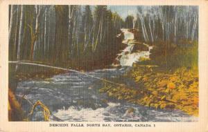 North Bay Ontario Canada Deschini Falls Scenic View Linen Postcard J76619