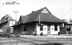 Manchester Indiana NYC Railroad Depot Real Photo Vintage Postcard K101392