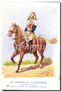Old Postcard The uniforms of police Inspector General MArechausee 1805-1810 M...