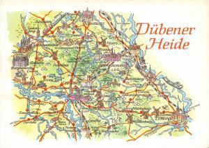 Vintage 1977 Dübener Heide & Surroundings Saxony-Anhalt Map Karte Postcard 74D
