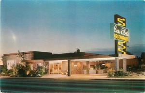1950s Bess Eiler's Restaurant night Neon roadside SANTA MONICA CALIFORNIA 3874