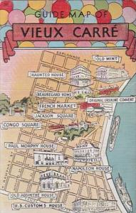 Guide Map Of Vieux Carre New Orleans Louisiana