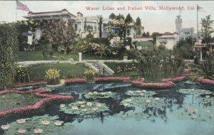 HOLLYWOOD , California , 1900-10s ; Water Lillies & Italian Villa
