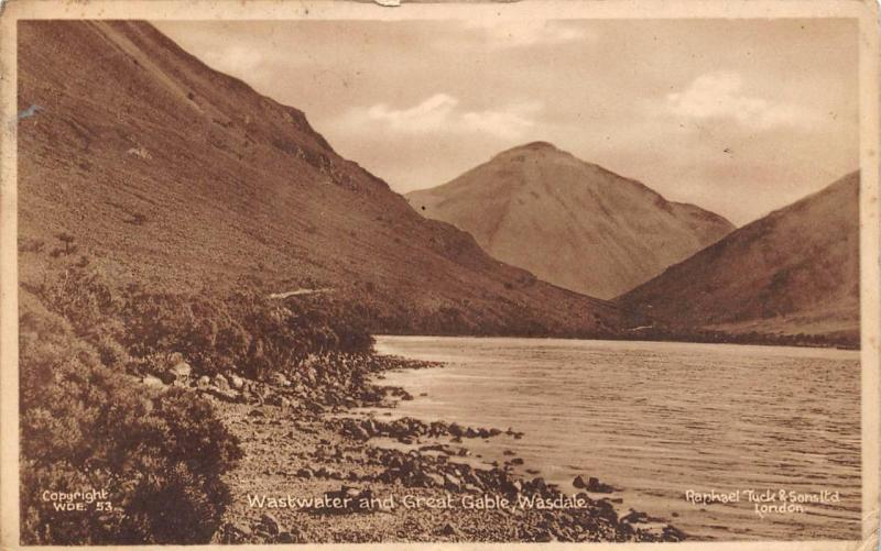 Vintage Tucks Postcard Wastwater and Great Gable, Wasdale WDE53
