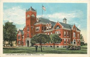 Richmond Indiana~Earlham College~Lindley Hall~Student Under Tree~1920s