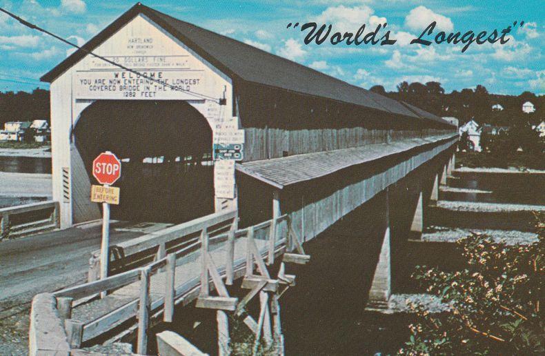 World's Longest Covered Bridge at Hartland, New Brunswick over St John River