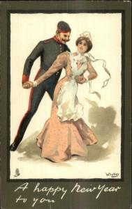 TUCK Christmas New Year Soldier & Beautiful Woman WHATLEY c1910 Postcard