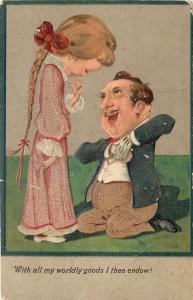 PFB Romance~Older Gent Proposes to Skinny Girl~Long Braid~All Worldly Goods~1908