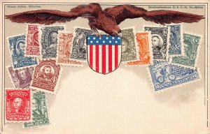 United States, Classic Stamp Images on Early Embossed Postcard, Ottmar Zieher