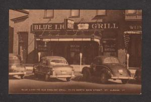 VT Blue Lion Ye Old English Grill N Main St St Albans Vermont Postcard Old cars