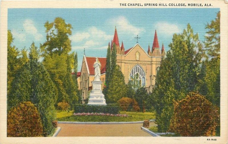 Mobile Alabama~Spring Hill College~Chapel~Statue~1934 Linen Postcard