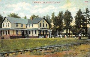 LAKESIDE INN Marinette, WI Railroad Tracks Matinee ca 1910s Vintage Postcard