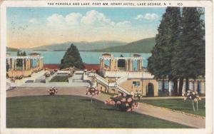 The Pergola and Lake,  Fort WM. Henry Hotel,  Lake George,  New York,  PU_1925