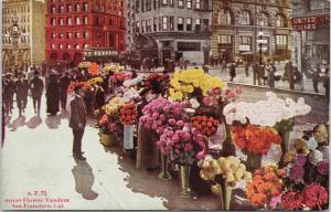 Street Flower Vendors San Francisco CA California Colorful Unused Postcard F7