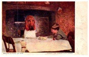Dog , Blood Hound at Diner Table
