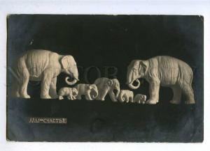 188096 New Year HAPPY ELEPHANT Family Vintage Photo PC