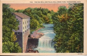 Ohio YOUNGSTOWN Mill Creek Park The Old Mill and Falls - LINEN