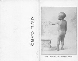 G3/ Black Americana Postcard Comic c1910 Cullad Gal 2-Panel Boy 27