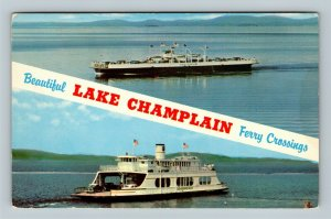 Scenic Lake Champlain Ferry Boat Crossing Classic Cars Mountains Chrome Postcard