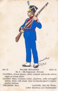 Polish Infantry 8th Regiment Private Napoleonic War Uniform PB Postcard