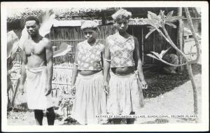 Solomon Islands, Guadalcanal, KOKUMBONA, Native People (1950s) RPPC