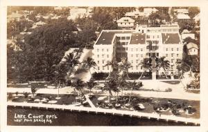 West Palm Beach Florida~Lake Court Apartments~Birdseye~Homes Behind~1920s RPPC