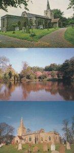 Polstead Pond Suffolk Reflections & Church 3x Postcard s