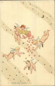 Art Nouveau Cherubs Hunt Hearts & Stars LA CHASSE AUX COEURS c1900 Postcard