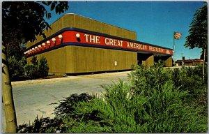Hayden Lake, Idaho Postcard THE GREAT AMERICAN RESTAURANT Roadside c1970s Unused