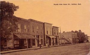 Ashley IN~N Side of State Street~US Post Office~Bldg w/Side Steps~Sepia 1914