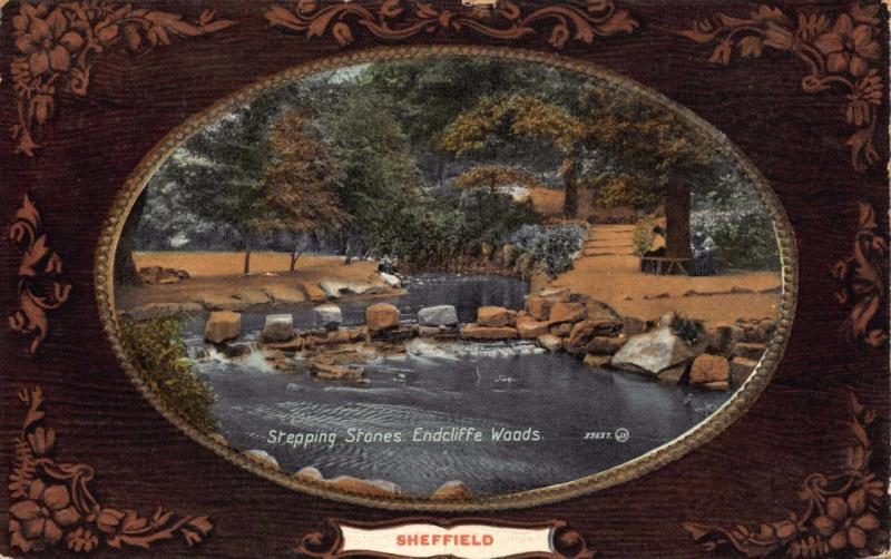 Vintage 1913 Postcard SHEFFIELD Stepping Stones, Endcliffe Woods