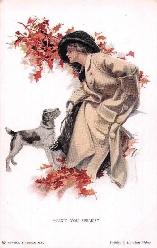 Autumn Fashion Lady, Dog Pet Can't You Speak! Harrison Fischer Postcard