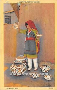 Youthful Pottery Vender Indian Unused