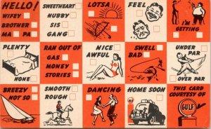 Gulf Oil Courtesy Info~Busy Person Correspondence Card~Check the Sports Box~1945