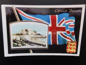 Channel Islands JERSEY Gorey & Mount Orgueil UNION JACK FLAG c1910 by Astrophot