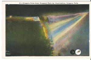 Vintage Postcard Night Scene on Linen Niagara Falls from Prospect Park