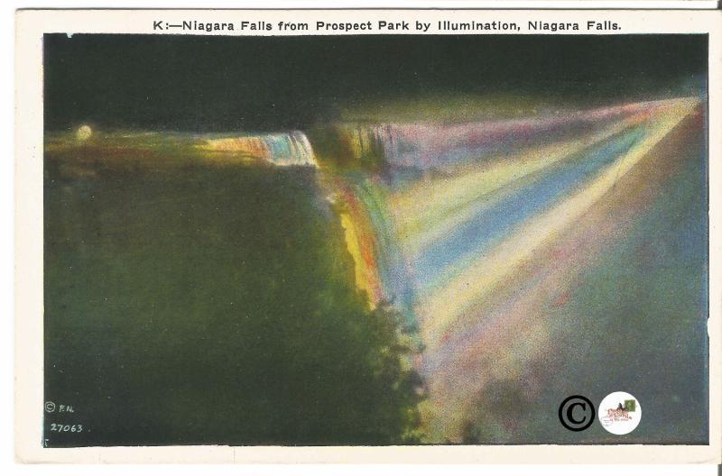 Vintage Postcard Night Scene on Linen Niagara Falls from Prospect Park
