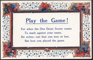 Written Word Postcard - Play The Game!, For When One Great Scorer Comes.. DC14
