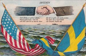 Sweden and United States Flag With Hands Shaking Over Ocean 1906
