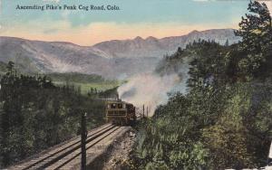 Ascending Pike's Peak Cog Road, Colorado, PU-1913, Train