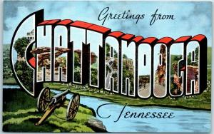 CHATTANOOGA Tennessee Large Letter Postcard Panorama View Background KROPP Linen
