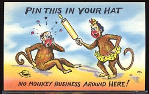 Vintage Humor Pin This In Your Hat Monkey Animals Ethnic Black Stereotype