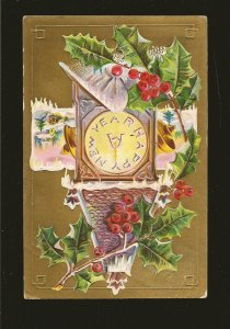 Postmarked 1910 Barrie Ont. Happy New Year Embossed Color Postcard
