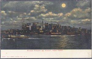 New York City NY -  MOONLIGHT on the RIVER FRONT, 1900s