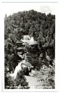 RPPC Linnville River Falls, Blue Ridge Parkway, NC Real Photo Postcard *6L(3)34