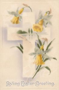 EASTER; Loving Greeting, White Cross, Yellow Lilly Flowers, 00-10s